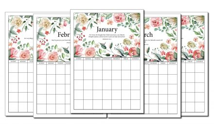 Printable Monthly Floral Planner (With Bible Verses)
