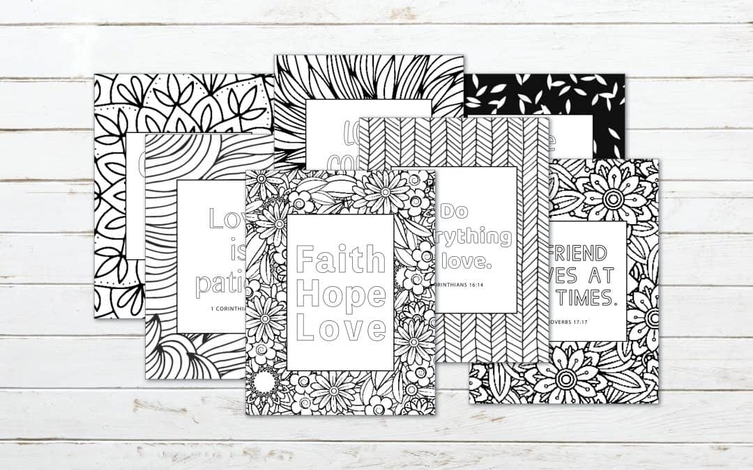 7 Printable Bible Verse Coloring Pages on Love