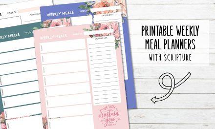 4 Vertical Weekly Meal Planners
